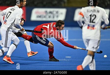 Stratford. United Kingdom. 02 November 2019. Alan Forsyth (Great Britain) has a shot. Great Britain v Malaysia. FIH Mens Olympic hockey qualifier. Lee Valley hockey and tennis centre. Stratford. London. United Kingdom. Credit Garry Bowden/Sport in Pictures/Alamy Live News. - Stock Photo
