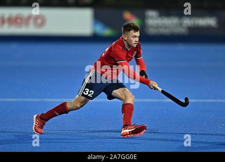 Stratford. United Kingdom. 02 November 2019. Zach Wallace (Great Britain). Great Britain v Malaysia. FIH Mens Olympic hockey qualifier. Lee Valley hockey and tennis centre. Stratford. London. United Kingdom. Credit Garry Bowden/Sport in Pictures/Alamy Live News. - Stock Photo