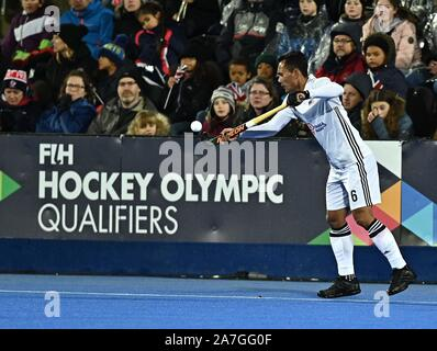 Stratford. United Kingdom. 02 November 2019. Marhan Jalil (Malaysia). Great Britain v Malaysia. FIH Mens Olympic hockey qualifier. Lee Valley hockey and tennis centre. Stratford. London. United Kingdom. Credit Garry Bowden/Sport in Pictures/Alamy Live News. - Stock Photo