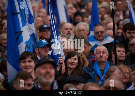 Glasgow, Scotland, UK. 02nd Nov 2019. A rally in support of Scottish Independence takes place in George Square. credit steven scott taylor / alamy live news - Stock Photo