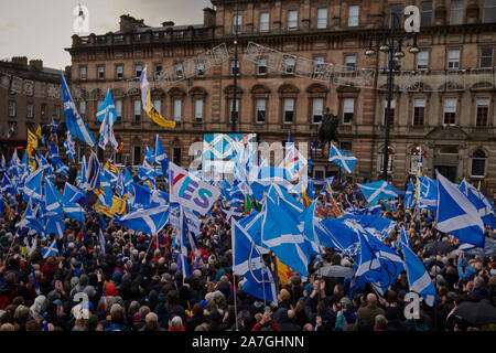 Glasgow, Scotland, UK. 02nd Nov 2019. First Minister Nicola Sturgeon speaks at a rally in support of Scottish Independence which takes place in George Square. credit steven scott taylor / alamy live news - Stock Photo