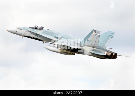 A Royal Canadian Air Force CF-18 (RCAF) demonstration at Airshow London, in London, Ontario, Canada. - Stock Photo