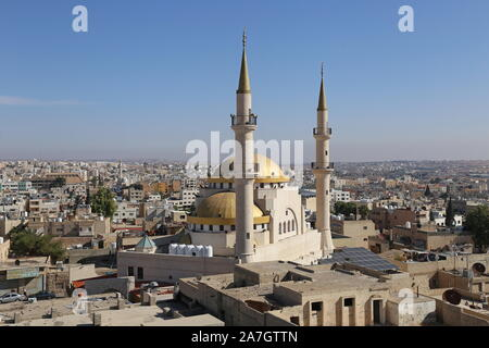 King Hussein Mosque at dawn from the Roof Terrace, Roof Terrace, St John Hotel, King Talal Street, Madaba, Madaba Governorate, Jordan, Middle East - Stock Photo