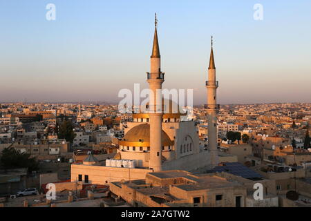 King Hussein Mosque at dusk from the Roof Terrace, St John Hotel, King Talal Street, Madaba, Madaba Governorate, Jordan, Middle East - Stock Photo