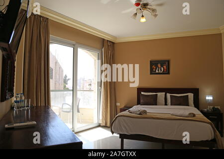 Double Room, St John Hotel, King Talal Street, Madaba, Madaba Governorate, Jordan, Middle East - Stock Photo