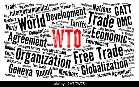 WTO, world trade organization word cloud - Stock Photo