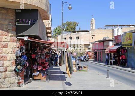 Shops, King Talal Street, Madaba, Madaba Governorate, Jordan, Middle East - Stock Photo