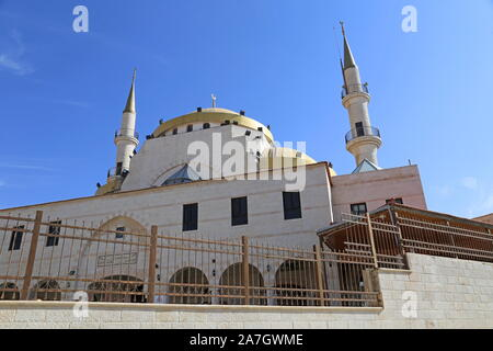King Hussein Mosque, Al Jame'a Street, Madaba, Madaba Governorate, Jordan, Middle East - Stock Photo