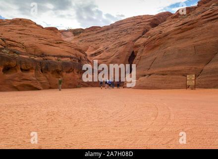 Antelope Canyon, Arizona, USA - April 5, 2019: Tourists visiting Upper Antelope Canyon in Arizona. - Stock Photo
