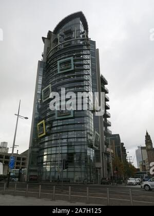 'The Boat' is an iconic mixed use development of office accommodation and residential, with its contemporary architecture a striking Belfast landmark. - Stock Photo