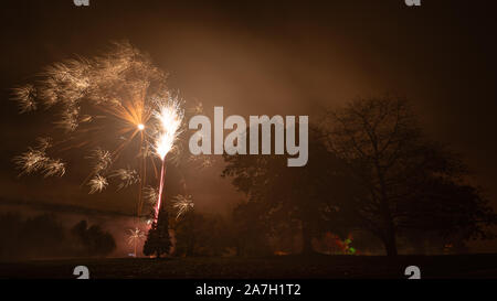 Rudding Park Hotel, Harrogate, UK. 2nd November, 2019. Bonfire Night fireworks are set off in the grounds of Rudding Park Hotel, Harrogate North Yorkshire, UK. Credit: Caught Light Photography/Alamy Live News - Stock Photo