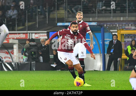 Tomas Rincon (Torino FC) during the Serie A football match between Torino FC and Juventus FC at Stadio Grande Torino on 2st November, 2019 in Turin, Italy. - Stock Photo
