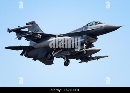 A F-16 Fighting Falcon fighter jet from the 480th Fighter Squadron at the Spangdahlem Air Base in Germany. - Stock Photo