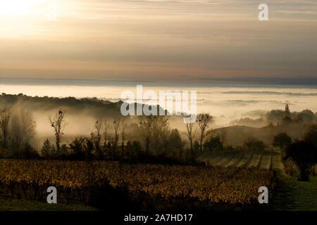Sun over the mist in the Dropt valley looking towards Miramont-de-Guyenne - Stock Photo