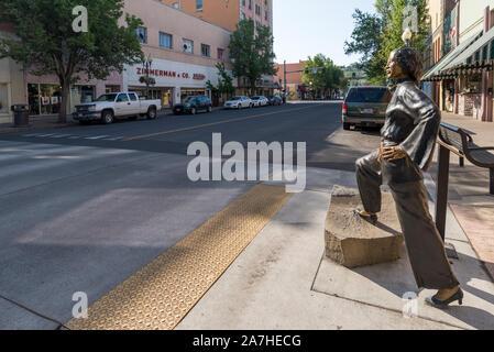 Stella Darby statue in downtown Pendleton, Oregon. - Stock Photo