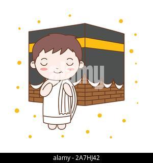 Cute Boy Praying in Kaaba. Muslim Kid Vector Illustration - Stock Photo
