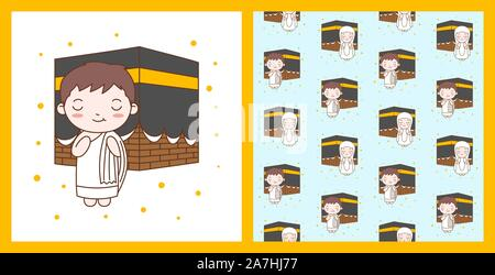 Cute Boy Praying in Kaaba. Muslim Kid Vector Illustration with pattern - Stock Photo