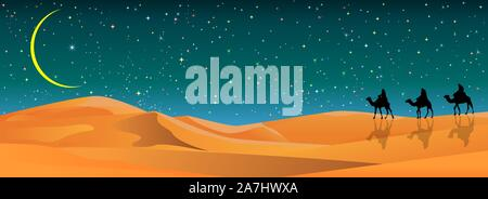 Camel riders in the sand desert. Caravan on the background of the night starry sky. Sandy desert, landscape. Stars, the moon. - Stock Photo