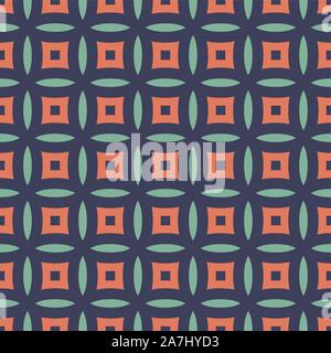 Flat vector design seamless geometry pattern background of lines and dots forming eyes in the center - Stock Photo