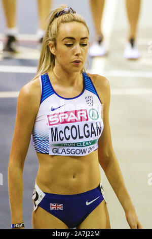 Glasgow, Scotland, UK. 1st March, 2019. Great Britain's Eilish McColgan before competing during Day 1 of the Glasgow 2019 European Athletics Indoor Championships, at the Emirates Arena. Iain McGuinness / Alamy Live News - Stock Photo