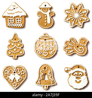 christmas cookies collection isolated on a white background - Stock Photo
