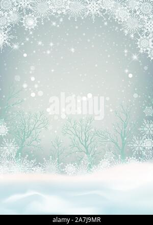 Winter forest and snow drifts in a frosty haze. Vector winter snowy landscape. Christmas background with snowfall - Stock Photo