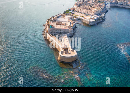Syracuse Sicily. Aerial view of Maniace fortress in Ortigia. - Stock Photo