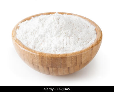 Wheat flour in wooden bowl isolated on white background with clipping path - Stock Photo