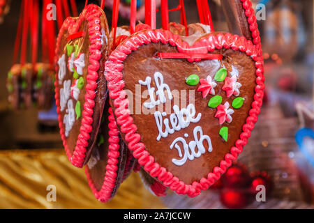 Salzburg, Austria. Gingerbread hearts at the traditional Christmas Market in Salzburg. - Stock Photo
