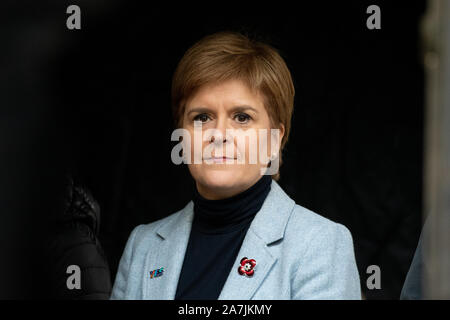 Nicola Sturgeon Scottish First Minister 2019 - waiting to speak at the #indyref 2020 rally at George Square, Glasgow on November 2nd 2019, Scotland - Stock Photo