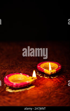 Nobody Shot Happy deepavali Burning diya or oil-lamp Festival of Light - Stock Photo