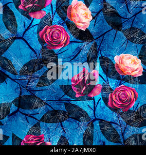 Bright Blue and Pink Scribble Flower Pattern - Stock Photo