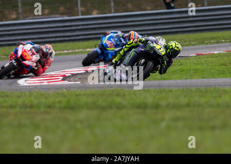 Sepang Circuit, Sepang, Malaysia. 3rd Nov, 2019. MotoGP Malaysia, Race Day; Valentino Rossi leads Jack Miller and Alex Rins during the race - Editorial Use Credit: Action Plus Sports/Alamy Live News - Stock Photo