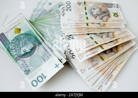 Lots of polish currency money zloty - Stock Photo