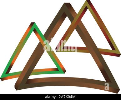 Abstract fantastic wooden triangles on white background. - Stock Photo