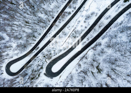 Snow-covered road. - Stock Photo