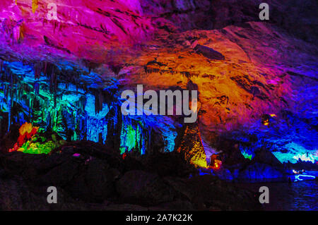 Picture of the rocks in the Reed Flute Cave in Guilin city, south-west China's Guangxi province, 6 September 2019. - Stock Photo
