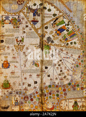 Catalan Atlas, Medieval world map created in 1375. Sixth vellum leave. Fragment Stock Photo