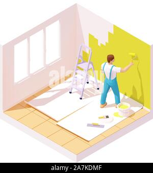 Vector isometric painter painting room wall - Stock Photo