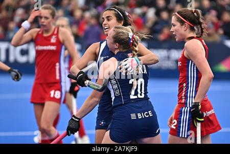 Stratford, London, UK. 3rd November 2019. Francisca Parra (Chile, 20) celebrates scoring, but the goal was disallowed. Great Britain v Chile. FIH Womens Olympic hockey qualifier. Lee Valley hockey and tennis centre. Stratford. London. United Kingdom. Credit Garry Bowden/Sport in PicturesAlamy Live News. - Stock Photo