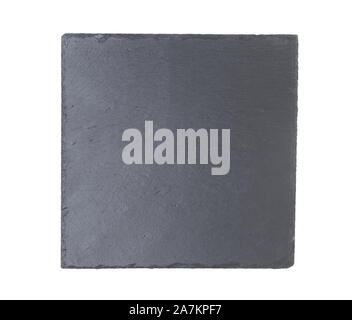 Slate plate isolated on a white background. Top view. - Stock Photo