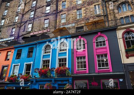 Edinburgh's Famous West Bow & Victoria Street Showing Detail, Bright Coloured Facades on Historic Buildings With Johnston Terrace: Edinburgh, Scotland - Stock Photo