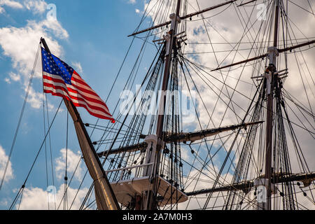 The USS Constitution in the Charlestown Navy Yard - Stock Photo
