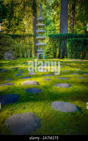 The Portland Japanese Garden is a traditional Japanese garden occupying 12 acres, located within Washington Park in the West Hills of Portland, Oregon - Stock Photo