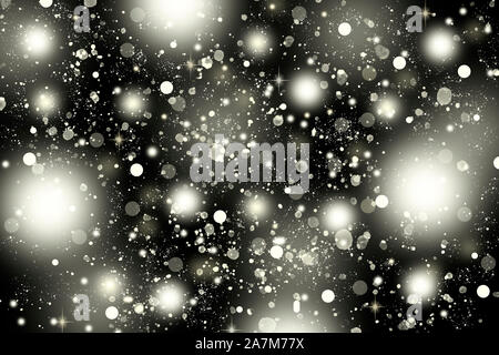 Falling snow against the night sky. Abstract background - Stock Photo