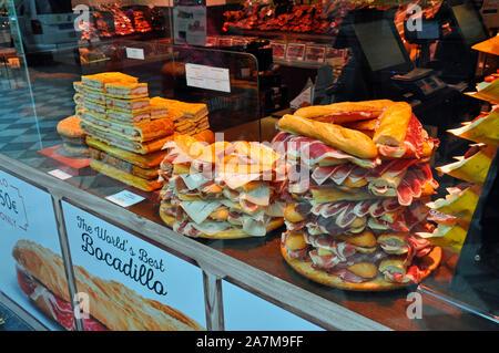 Bocadillo 'Jamon' sandwiches in shop window in Granada city centre, Spain. - Stock Photo