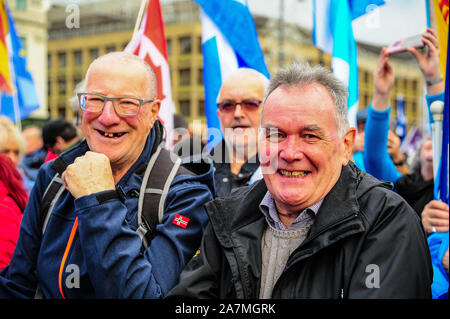 Glasgow, UK. 02nd Nov, 2019. Independence supporters smile for a photo during the IndyRef2020 rally hosted by The National Newspaper. Credit: SOPA Images Limited/Alamy Live News - Stock Photo