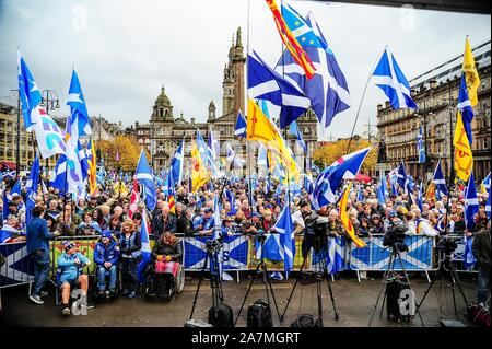 Glasgow, UK. 02nd Nov, 2019. Thousands of independence supporters wave flags during the IndyRef2020 rally hosted by The National Newspaper. Credit: SOPA Images Limited/Alamy Live News - Stock Photo