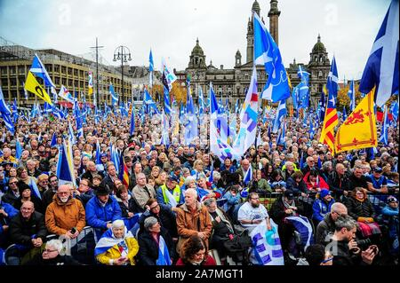 Glasgow, UK. 02nd Nov, 2019. A close-up overview of independence supporters with their flags during the IndyRef2020 rally hosted by The National Newspaper. Credit: SOPA Images Limited/Alamy Live News - Stock Photo
