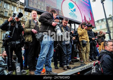Glasgow, UK. 02nd Nov, 2019. Press photographers attend the IndyRef2020 rally hosted by The National Newspaper. Credit: SOPA Images Limited/Alamy Live News - Stock Photo